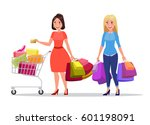 two happy shopping girls or... | Shutterstock .eps vector #601198091