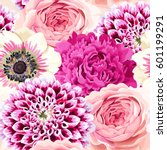 roses  peonies and anemones... | Shutterstock .eps vector #601199291