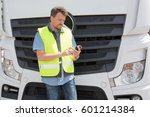 international truck driver in... | Shutterstock . vector #601214384