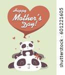vector cartoon panda mother's...   Shutterstock .eps vector #601221605