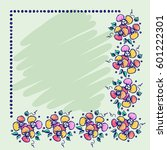 floral frame. hand drawn roses... | Shutterstock . vector #601222301