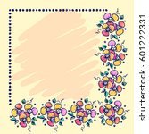 floral frame. hand drawn roses... | Shutterstock . vector #601222331