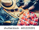 travel clothing accessories... | Shutterstock . vector #601223201