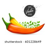red and yellow chili peppers... | Shutterstock .eps vector #601228649