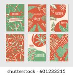 set of artistic creative summer ... | Shutterstock .eps vector #601233215