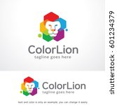 color lion logo template design ... | Shutterstock .eps vector #601234379