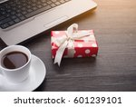 laptop computer with cup of tea ... | Shutterstock . vector #601239101