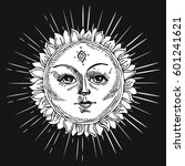hand drawn sun with face and...   Shutterstock .eps vector #601241621