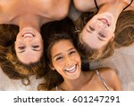 top view portraits of three... | Shutterstock . vector #601247291