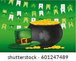 pot of gold coins on a... | Shutterstock .eps vector #601247489