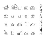 house and home icons set vector | Shutterstock .eps vector #601247747