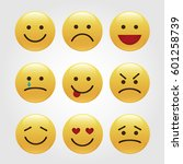 set of emoticons  icon pack ... | Shutterstock .eps vector #601258739