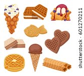 different waffle cookies on... | Shutterstock .eps vector #601270211