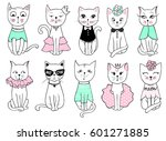 big vector series with cute... | Shutterstock .eps vector #601271885