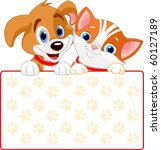 Stock vector cat and dog holding sign add your own message 60127189
