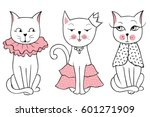 Stock vector vector series with cute fashion cats stylish kitten set trendy illustration in sketch style t 601271909