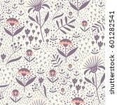 seamless floral pattern with... | Shutterstock .eps vector #601282541