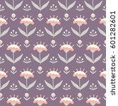 seamless floral pattern with... | Shutterstock .eps vector #601282601
