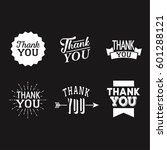 thank you set of white badges... | Shutterstock .eps vector #601288121