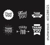 thank you set of white badges... | Shutterstock .eps vector #601288121