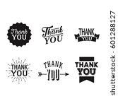 thank you set of black badges... | Shutterstock .eps vector #601288127