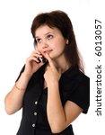 girl talks on a cellular... | Shutterstock . vector #6013057