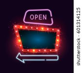 shining retro neon billboard.... | Shutterstock .eps vector #601314125