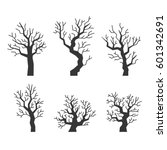 black tree silhouettes set on... | Shutterstock . vector #601342691