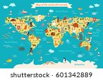 animals world map. vector... | Shutterstock .eps vector #601342889