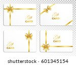 white gift card set with gold ... | Shutterstock .eps vector #601345154