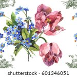 Hand Painting 2 Pink Tulips An...
