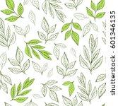 Stock vector hand drawn leaf seamless pattern tea vector illustration 601346135