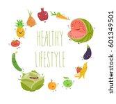 cartoon vegetable cute... | Shutterstock .eps vector #601349501