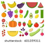 set of fruits and vegetables.... | Shutterstock .eps vector #601359311
