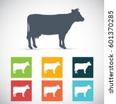 cow silhouette. vector icon. | Shutterstock .eps vector #601370285