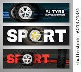 vector tyre banners set image.... | Shutterstock .eps vector #601374365