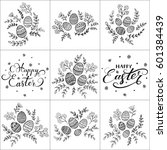 set of floral pattern and... | Shutterstock .eps vector #601384439