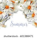 hand drawn watercolor floral... | Shutterstock . vector #601388471