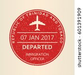 passport stamp. travel by plane ... | Shutterstock .eps vector #601391909