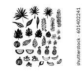hand drawn brush plants. vector ... | Shutterstock .eps vector #601402241