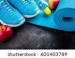 sport shoes  yoga mat  apples ... | Shutterstock . vector #601403789