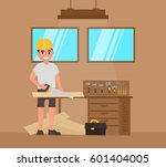 carpenter  foreman  carpenter ... | Shutterstock .eps vector #601404005