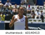 CARLSBAD, CA - AUGUST 06: Flavia Pennetta after her quarter-final victory over Samantha Stosur at the Mercury Insurance Open at La Costa Resort and Spa on August 6, 2010 in Carlsbad, CA. - stock photo