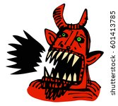 Devil Face Screaming  Ink Hand...