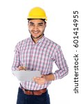 smiling engineer writing report ... | Shutterstock . vector #601414955