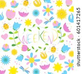 spring weekend pattern colorful ...   Shutterstock .eps vector #601417265