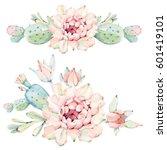 hand drawn watercolor cactus... | Shutterstock . vector #601419101