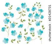 set of linen flowers elements.... | Shutterstock .eps vector #601428731
