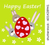 happy easter greeting card with ... | Shutterstock .eps vector #601428941