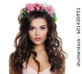 Small photo of Beautiful Fashion Model Woman with Makeup, Long Curly Hairstyle and Wreath Isolated on White Background